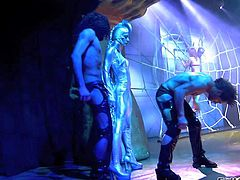 Chris Charming, Erik Everhard and Nacho Vidal make the kinkiest runway show ever and enjoy in playing with models and all babes in leather and latex clothes on the runway
