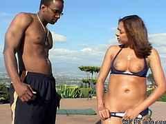 WCP Club sex clip is what lewd gal thirsts for. Wondrous slim ebony nympho is near the pool. She seduces a black stud, cuz ardent gal with nice tits and appetizing ass thirsts to demonstrate her dick sucking skills right outdoors.