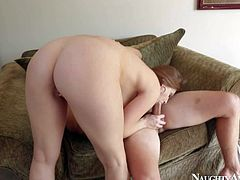 Allison Moore is his girlfriends big racked friend that loves to suck and fuck. She gets her big melons banged before she takes off her panties and takes it up her wet shaved pussy.