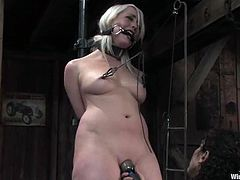 Amazing blonde chick takes her dress and gets tied up by Trinity Post. After that she gets toyed hard and deep in close-up scenes.