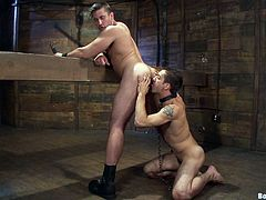 Check out this sweet-ass gay bondage scene with a submissive fuck getting tied up and, well.. fucked! It's super fucking kinky!