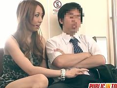 This cute Japanese hottie is in the subway with a dude. She takes his cock out of his pants and jerks it off.