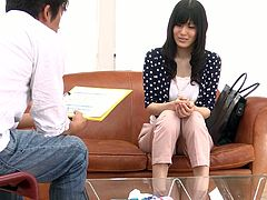 Naive looking Japanese milf gives an interview to employer manager before she takes off her clothes remaining in polka dot lingerie in sultry sex vdieo by Jav HD.