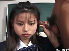 This hot and young looking Japanese teen wants to get A for the next exams and the only solution for her is to suck off her teacher's hairy cock!