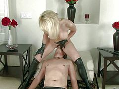 Missy Woods is a white-haired lovely domina in black boots and gloves. Round assed lady with shapely ass takes off her thong before she smothers her slave with her boobs and butt cheeks.