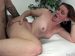 She is trashy redhead bitch with small tits. She lies on her side getting poked bad from behind. Then she stands on her all four getting hammered intensively.