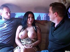 Busty brunette in sexy dress Sophia Lomeli lures dudes in limo and shows boobs