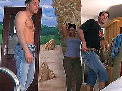 Choky Ice makes Brunette Debbie White gag on his meaty meat pole