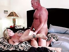 Delicious goddess Vanessa Cage finds herself blowing Mark Daviss rock hard love wand