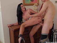 Turned on brunette honey Andy San Dimas enjoys in seducing her married neighbor Jessy Jones and gives him a hot blowjob session in her bedroom on her knees in lingerie