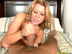 Adorable blonde milf Ashley Hay shows her sweet tits to some guy and fondles her nice body. Then the guy drives his dick into Ashley's vag and pounds it hard every which way.