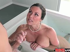 Brunette lures a dude in the bathroom. She wanna provide his dick with a blowjob and handjob. Busty whore has nothing against threesome and invites kinky pale black haired gal to join them for orgasm.