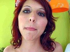 Annie is a sweet teenage redhead that displays her hairless pussy as she fucks her tight asshole with glass dildo. This tender redhead gets anal pleasure with the help of her toy.