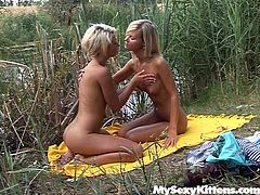 Chilling outdoor near the river Giselle and Christine start lesbian sex. They kiss passionately in a french way caressing one another sensually. Then Giselle inserts pink sex toy in Christine's wet pussy poking actively. If you are into lesbi action tonight, then press play and enjoy your time.