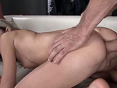 Brunette blows the jizz out of love stick