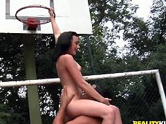 Gorgeous black haired whore gives deepthroat blowjob to her buddy. Dude licks her pussy as she hangs on the basket and keeps polishing her sweet soaking cunt on the floor.