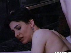 Voracious girl of Indian heritage is fucking hardcore in a steamy threesome porn clip featuring two Caucasian partners. She is rammed hard missionary style by the horny white stud while the other girl sits on her face.