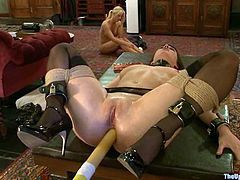 Petite blond Holly and sexy brunette Cherry are the objects of torture