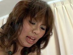 Rapacious Japanese nympho in outright outfit and black stockings rides a kinky dude in cowgirl style before she bends down for a hard fuck from behind in doggy position in steamy sex clip by Jav HD.