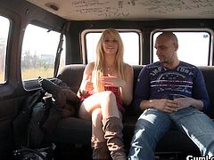 Zorah White receives hard fucking in the bang bus from hunk with a large penis