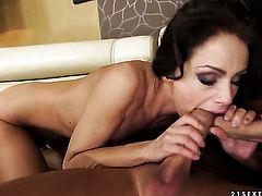 Brunette Sophie Lynx enjoys the warmth of mans throbbing snake deep down her throat