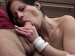 Pale black haired ugly slut Lussy squats down to suck a stiff long dick for sperm