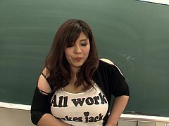 Mind taking ample Japanese bombshell in black corset gets seduced by her group mates right in the auditorium. They oral stroke her baggy huge tits and hand stroke soaking vagina in sultry MMF sex video by Jav HD.