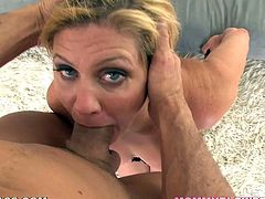 Stuffing Ginger Lynn's Sexy MILF Mouth with Cock in Blowjob Video