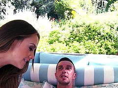 Chanel and Eva are relaxing by the swimming area. Watch as they make out with each other. These two famous porn stars love masturbating. The suck a big dick in the cabana. They take turns deep throating big cock.