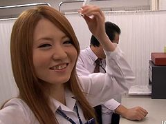 Fresh faced Japanese student flirts with a cam wearing a shirt over a naked body before she pulls it up to demonstrate pair of small perky tits.