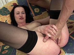 Fuckable brunette harlow in black stockings gets her vagina eaten by aroused dude before she inclines to massive dick to mouth fuck it. Later she rides it in reverse cowgirl style.