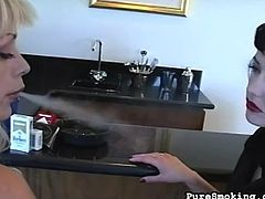 Sexy babes are smoking while teasing one another into playing nasty