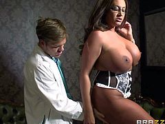Cock hungry brunette nurse Emma Butt with long sexy nails and gigantic fake balloons gives head to dirty doctor in pint of view and gets rammed hard during lunch break