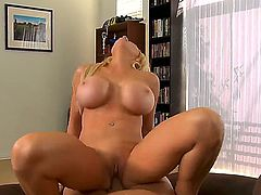 Blondie with great fake juggs Candy Manson has wild pounding with perverted fellow Christian. The mature blonde woman gets his cock deep inside of vagina and mouth.