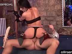 Hot pole dancer blows and rides pecker and works huge dildo