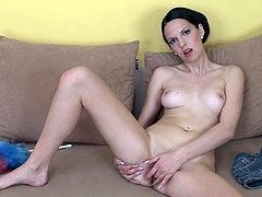 A lovely chick gets naked and begins fondling and fingering her super wet pussy for the camera so you can get off whacking off to that!