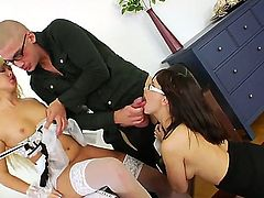 Gorgeous cock loving babes Lana and Lara enjoy giving a huge cock a deep throat