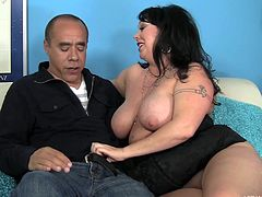 Those big soft breasts are perfect for a titjob and her fat ass is making guy horny as fuck. The bbw has a lot of love to give and she starts sharing that love using her mouth. Yeah, watch her filling the slutty mouth with Guy's big hard dick, like a whore. Such a big girl needs a big load of semen!
