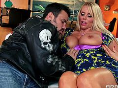 They two are having some sweet talk while a guy in black jacket enters the room and this huge boobs milf can not wait to stuff her mouth with his man meat. She offers him her appealing breasts which has made his dick hard and on that this long haired blonde bitch is molding her juicy lips. Watch!