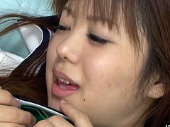 Noriko Kago is a real slut with nice round tits and a hairy pussy. She is hot and she knows that she is driving her boyfriend crazy. First, she lets him lick her swollen nipples and then she gets her hairy snatch expertly eaten out.