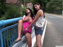 Kinky teen chick Klaris and Angelica are insatiably horny girls. They start kissing passionately by the road. Girls slip their shorts down flashing their booties. Then one of the girls gets her snatch finger fucked right there and then. This are wild sluts with aptitude to exhibitionism.