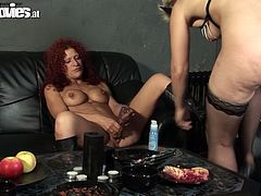 As soon as horny hot lesbos return home they desire to gain delight. Spoiled redhead with big boobs spreads legs wide and gets her wet pussy licked and spooned by pale blondie in black mask. Just be sure to jizz at once seeing hot rapacious lesbos in Fun Movies sex clip.