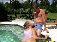 Hilarious blond blowlerina Valerie goes nuts and sucks a dick in the pool