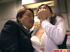 Watch a vicious Japanese brunette milf getting her clam munched at the office before giving her man a hell of a blowjob. Then she's ready for her pussy to be banged deep and hard into kingdom come.