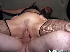 Sizzling brunette hoe in fishnet stockings is busy giving a rimjob to horny dude before she gets on it for reverse cowgirl style in peppering sex clip by Pornstar.