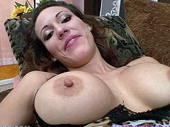 Sexy dark-haired milf Layla Rivera gets on her knees in front of some dude and begins to suck his schlong. She also takes it deep into her throat and manages to milk it dry in her mouth soon.