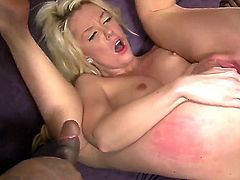 Hot blonde watches as her wet tight pussy and ass get fucked hard by a white guy and two black guys