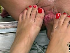 Attractive babes with gorgeous bodies are having passionate lesbian sex. In addition, these girls are into foot fetish so they involve their smooth soles to the action. So, hey folks, if you are into foot pleasures you gotta check out this outrageously hot porn clip presented by DDF Network.