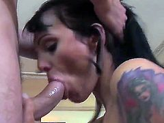 Sexy brunette babe Victoria blows on a huge hard pole passionately before enjoying a nice fuck
