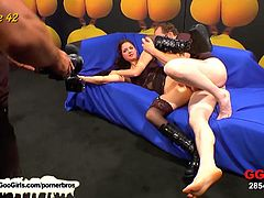 Watch this brunette nympho Nicole in this hot orgy action where she sucks and takes hard fuck by horny men that are waiting in lines to fuck her and cum on her lovely face and body.Enjoy this hot group-sex amazing video where she gets fucked and she swallow cum loads.